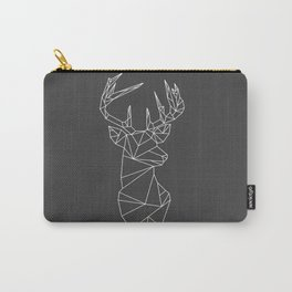 Greometric Stag (White on Grey) Carry-All Pouch
