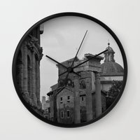 roman Wall Clocks featuring Roman Wanderings by Upperleft Studios