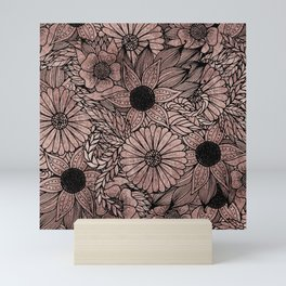 Floral Rose Gold Flowers and Leaves Drawing Black Mini Art Print