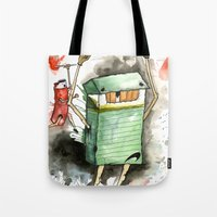 run Tote Bags featuring RUN! by Travis Sykes