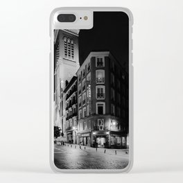 Madrid Hotel at Night BW Clear iPhone Case
