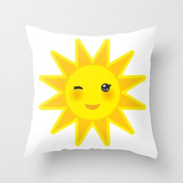 funny cartoon yellow sun smiling and winking eyes and pink cheeks, sun on white background Throw Pillow