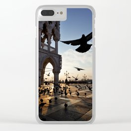 Sunrise at San Marco Square, Venice, Italy. Pigeons flying near the Doge`s Palace. Clear iPhone Case