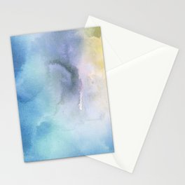 Navy blue teal lavender yellow watercolor brushstrokes Stationery Cards