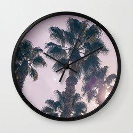 Palm Tree Art Print {2 of 3} | Magenta Pastels Topical Beach Plant Nature Vacation Sun Vibes Artwork Wall Clock