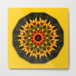 Orange and Yellow Iris 001.1, Floral mandala-style, Flower Mandala Metal Print