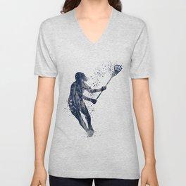Girl Lacrosse Navy Blue Colorful Watercolor Sports Art Unisex V-Neck