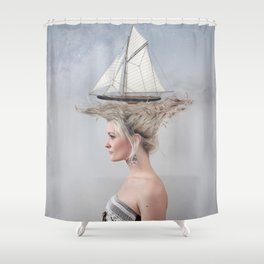 Sailing - White Shower Curtain