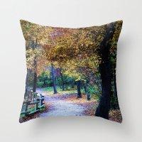 golden Throw Pillows featuring Golden by Françoise Reina