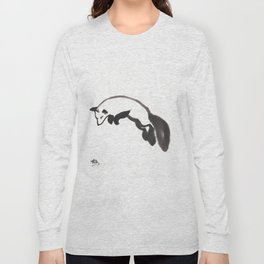 Fox hunting Mouse Sumi-e Long Sleeve T-shirt