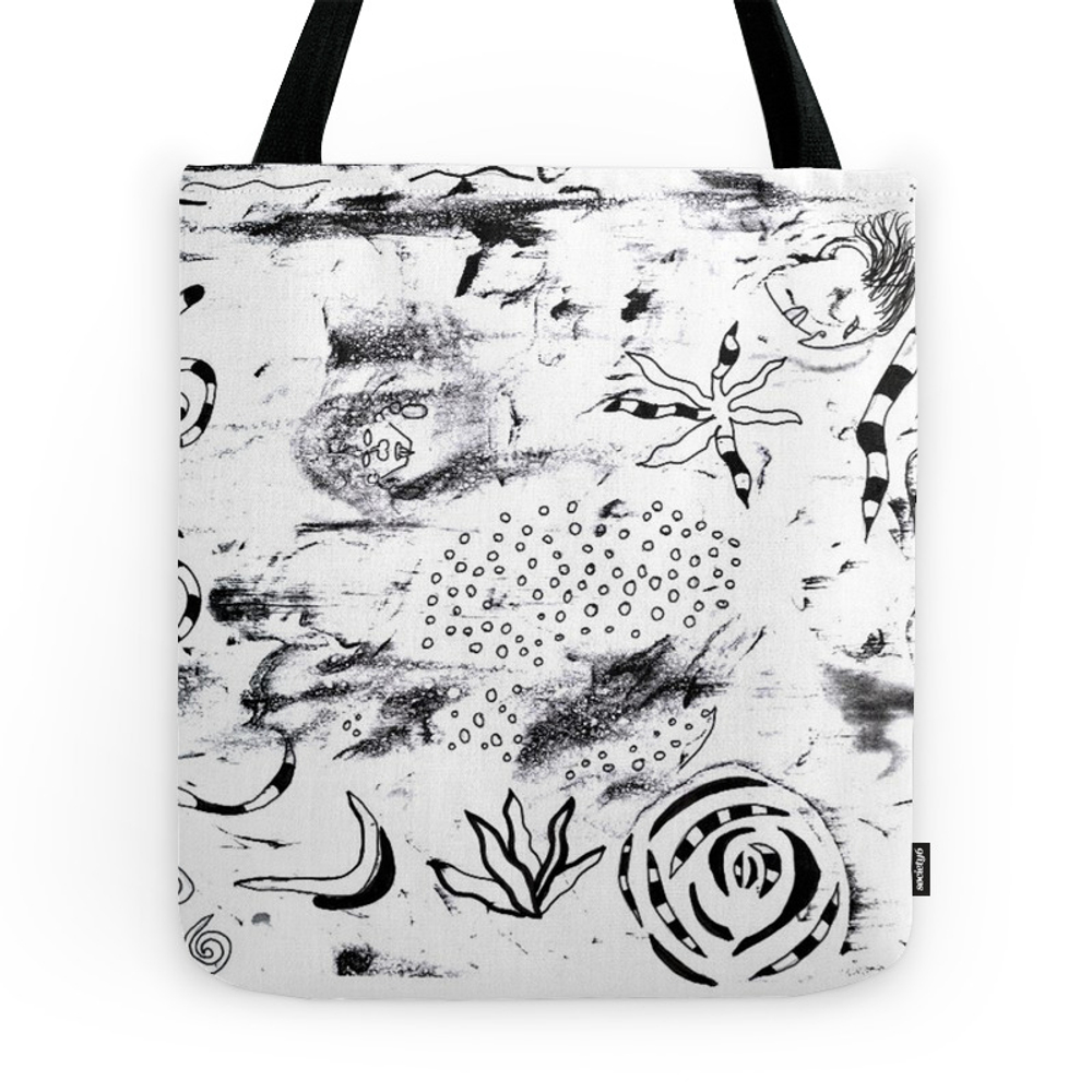 B&W Doodle Tote Purse by katdalli (TBG7185292) photo