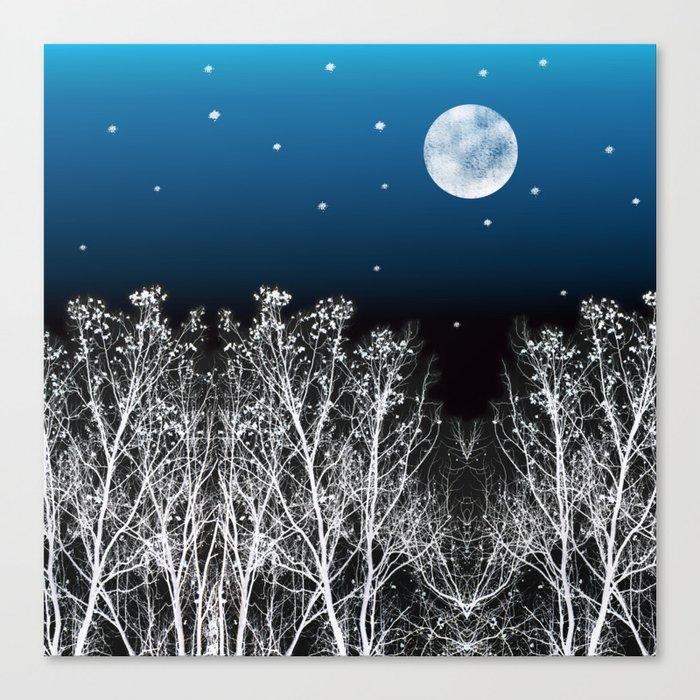 White Woods Moon Canvas Print