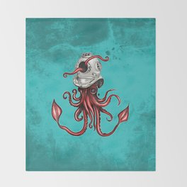 Squid with Diving Helmet Throw Blanket