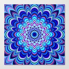Neon blue striped mandala Canvas Print