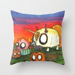 Halloween Pumpkin Picking Throw Pillow