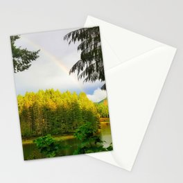 Rainbow over the Lake in the woods Stationery Cards