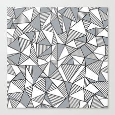 Abstract Lines With Grey Blocks Canvas Print