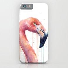 Watercolor Pink Flamingo Illustration   Facing Right Slim Case iPhone 6s