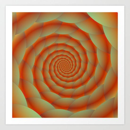 Orange Snake Skin Spiral Art Print