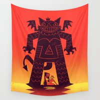 demon Wall Tapestries featuring Pizza Demon by jublin