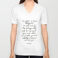 pride and prejudice V-neck T-shirts featuring Pride & Prejudice by Cécile Pellerin