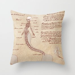 Anatomy of the Mermaid Throw Pillow