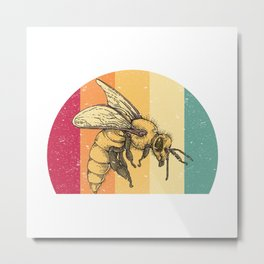 Retro Bee Metal Print