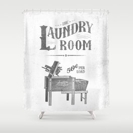 Farmhouse laundry sign rustic vintage distressed shabby chic laundry room art vintage laundry sign Shower Curtain