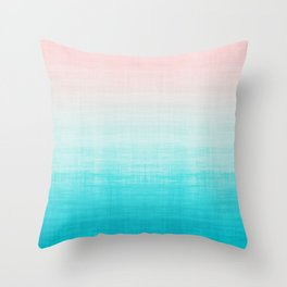 Grunge Pastel Millennial Pink Aqua Blue Teal Mint Linen Pattern Ombre Gradient Texture Throw Pillow