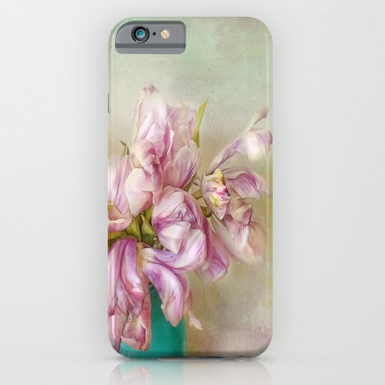 bouquet tulips in blue vase iPhone & iPod Case