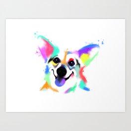 Rainbow Corgi Art Print