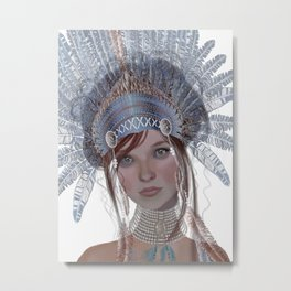 Headdress  blue goddess Metal Print