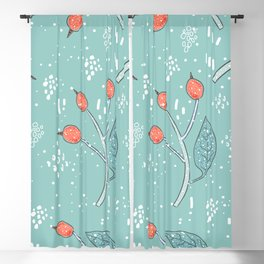 Winter Seamless Pattern With Hand Drawn Berries Blackout Curtain