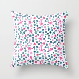 Floral Pattern in Pink, Blue, Teal and Mint Throw Pillow