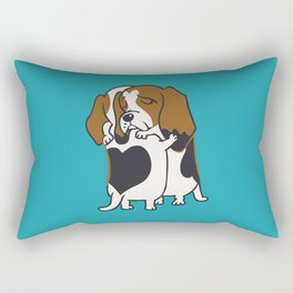 Basset Hound Hugs Rectangular Pillow