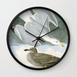 Seagulls Illustration - Birds in America Wall Clock
