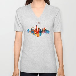Dallas Watercolor Skyline Unisex V-Neck
