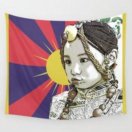 A little Tibetan girl Wall Tapestry
