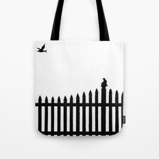 Bird on a fence Tote Bag
