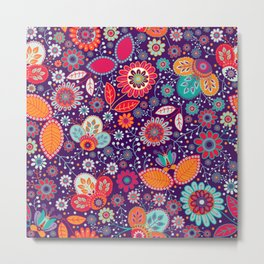 Colorful khokhloma flowers pattern Metal Print