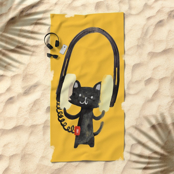 I Love Huge Headphone Beach Towel