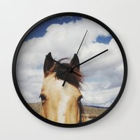 horse Wall Clocks featuring Cloudy Horse Head by Kevin Russ