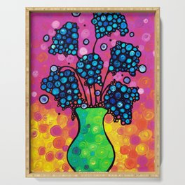 Whimsical Colorful Flower Bouquet by Sharon Cummings Serving Tray