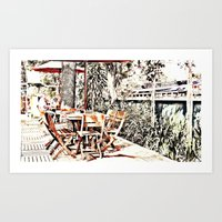 outdoor Art Prints featuring Outdoor Lunch by Losal Jsk