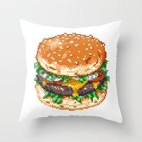 burger Throw Pillows featuring Burger by noirlac