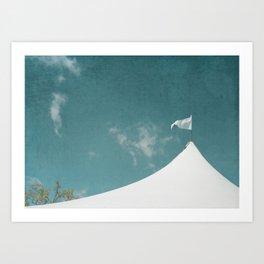 White Circus Tent and Teal Blue Sky Art Print