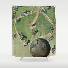 Vintage Baseball Home Run - Birds Eye View Illustration Shower Curtain
