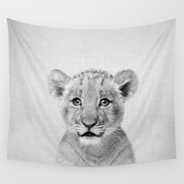 Baby Lion - Black & White Wall Tapestry