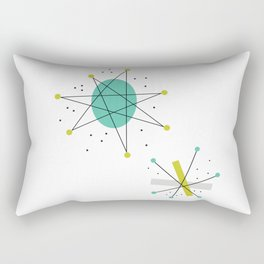 Teal Mid Century Modern Atomic Age Pattern Rectangular Pillow