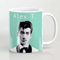 alex turner Mugs featuring Arctic Monkeys, Alex Turner by Morgane Dagorne